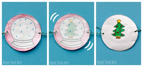 Three side-by-side images of a simple thaumatrope in different positions. It forms an image of a Christmas tree in a snowglobe.